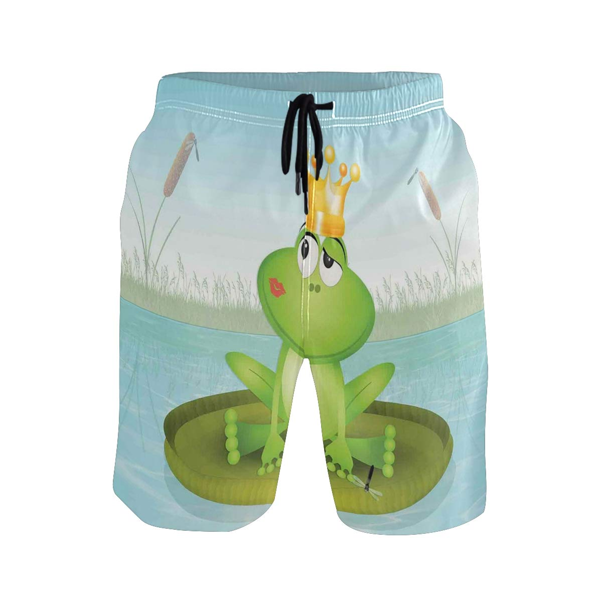 COVASA Mens Summer ShortsFrog Prince with Lipstick Stain and Crown Sitting On