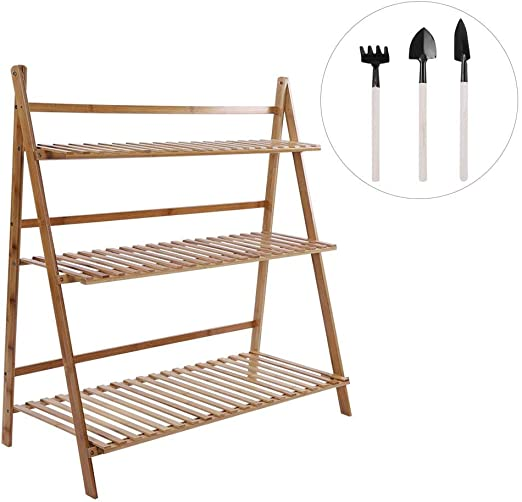 3 Capas de Almacenamiento de Bambú Balcón Sustancioso Soporte de Flores Maceta Plegable Estante de Planta de Soporte Para Decoración de Hogar y Boda(Color de madera-100CM): Amazon.es: Hogar