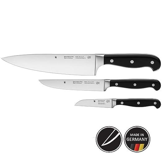 WMF Spitzenklasse Plus Juego 3 Cuchillos de Cocina, Negro, 3 Piezas
