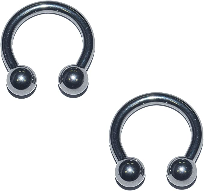 "Pair Circular Barbell Horseshoe PUNK Ball 10g 5//8/"" Ear Surgical Steel 6MM Balls"