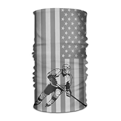 DheW Men&Women American Flag Hocky Sports&Casual 12-in-1 Bandanna Headwear Scarf Wrap Neck Gaiters Headband Helmet Liner Balaclava For Running,Yoga,Hiking