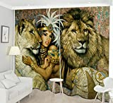 LB Teen Kids Animal Decor Room Darkening Blackout Curtains,Beauty and the Lion Tiger 3D Effect Print Window Treatment Living Room Bedroom Window Drapes 2 Panels Set,28 x 65 inch Length