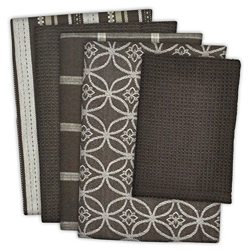 "DII Cotton Oversized Kitchen Dish Towels 18 x 28"" and Dishcloth 13 x 13"", Set of 5 , Absorbent Washing Drying Dishtowels for Everyday Cooking and Baking-Dark Brown"