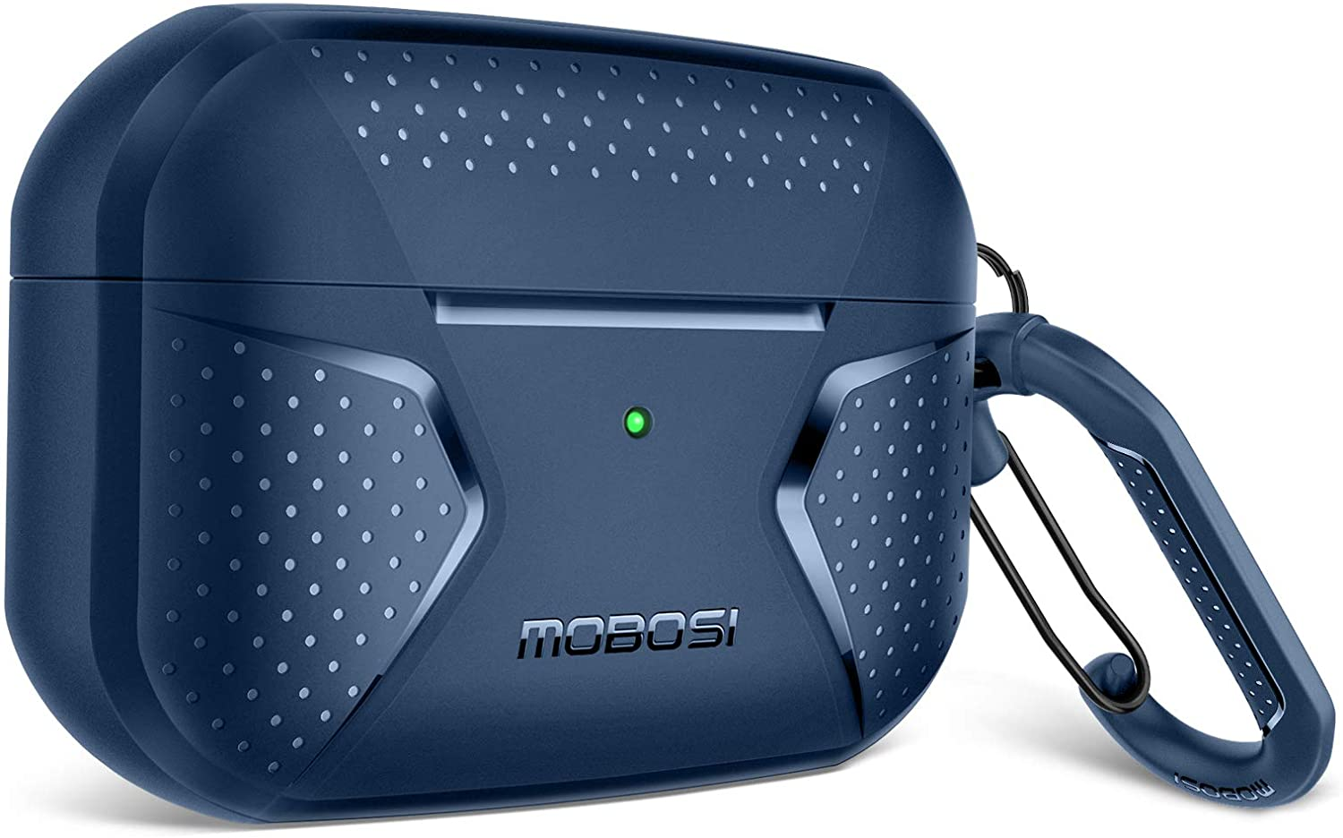 MOBOSI Net Series AirPods Pro Case Cover , Full-Body Rugged Shock Absorbing Protective Carrying Case Skin with Carabiner for Airpod Pro Wireless Charging Case, Dark Blue [Front LED Visible]