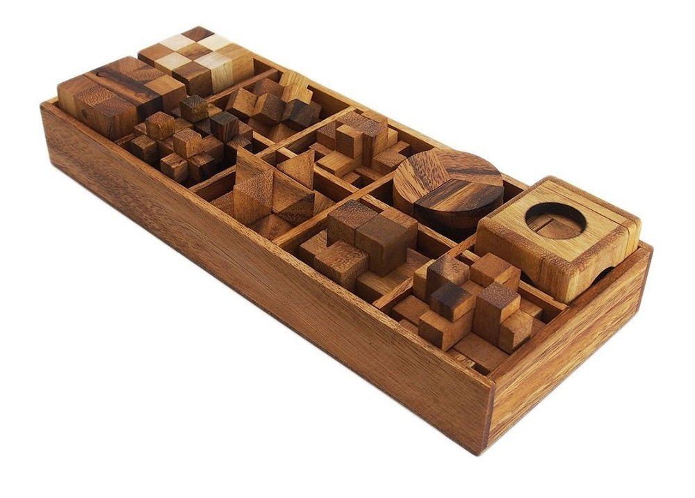 Handmade Ten Brain Teasers with the Puzzle Showcase, 10 Wooden Game Gift Set, Wooden Puzzles For Adults. WADSUWAN SHOP wad Game003