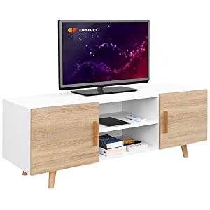 Comifort TV85B/S – Mueble TV Salón Estilo Moderno Nórdico Mesa Televisión, Colores: Blanco, Roble, Blanco/Roble 140x42x50 cm (Blanco/Roble)