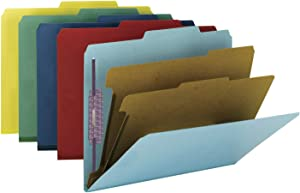 "Smead Pressboard Classification File Folder with SafeSHIELD Fasteners, 2 Dividers, 2"" Expansion, Letter Size, Assorted Colors, 10 per Box (14025)"