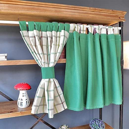 Kitchen Curtains Cortinas Cocina Cortas Visillos Café Media Cortina Algodón Y Lino Cortina Decorativa Estilo Pastoral Verde/Cuadrícula: Amazon.es: Hogar