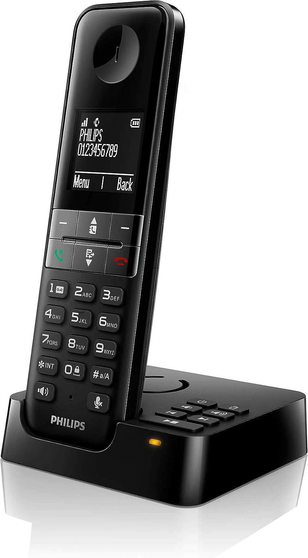 Philips D4751B/34 - Teléfono Fijo Inalámbrico con Contestador Automático (30 Minutos Mensajes, 16 Horas, Función Notas Familiares, MySound, HQ-Sound, Modo Privado, Manos Libres, Eco+) Negro