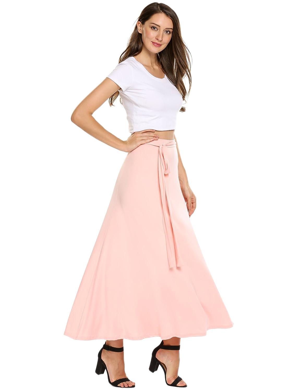 5c3c73ba9088 Zeagoo Womens Skirts Boho Elastic Maxi Long Solid Wrap Around Bow Tie Skirt  at Amazon Women's Clothing store: