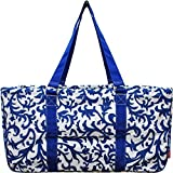 N. Gil All Purpose Open Top 23'' Classic Extra Large Utility Tote Bag 2017 Spring Collection (Damask Royal Blue)