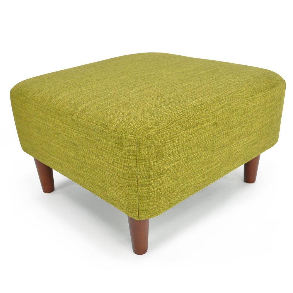 オットマン スツール 北欧風デザイン 木枠スツール 「 バレンティナ 」 ( 布地タイプ ) グリーン色 B01LZO4N1K