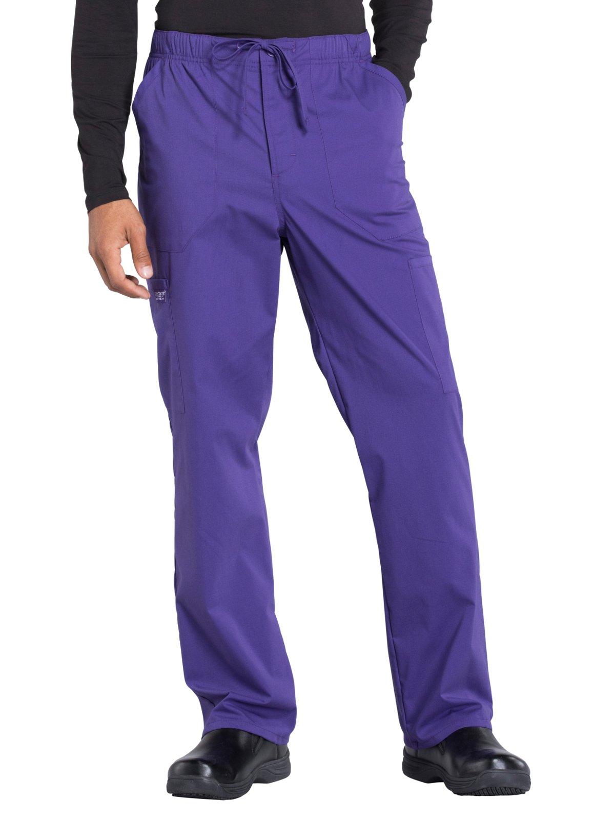 Cherokee Professionals Workwear Men's Tapered Leg Zip Fly Drawstring Scrub Pant X-Large Grape