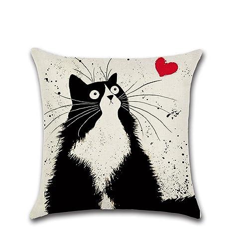 Funda de cojín con diseño del gato Totoro, de Excelsio; de algodón y lino, cuadrada, de 45 x 45 cm; para sofá, cama, sala de estar, dormitorio y ...