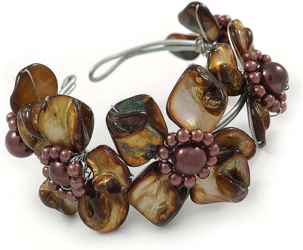 Avalaya - Pulsera ajustable con diseño de concha de mar y perlas de imitación, color marrón