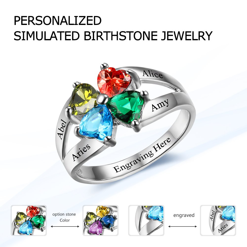 Diamondido Personalized Mother's Day Rings Family Jewelry Engrave Names Simulated Birthstone Rings for Women (6) by Diamondido (Image #7)