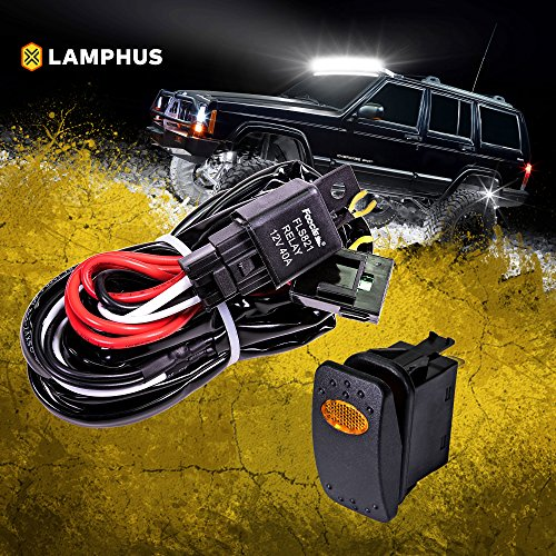 LAMPHUS 12V 40A Off Road ATV/Jeep LED Light Bar Relay Wiring