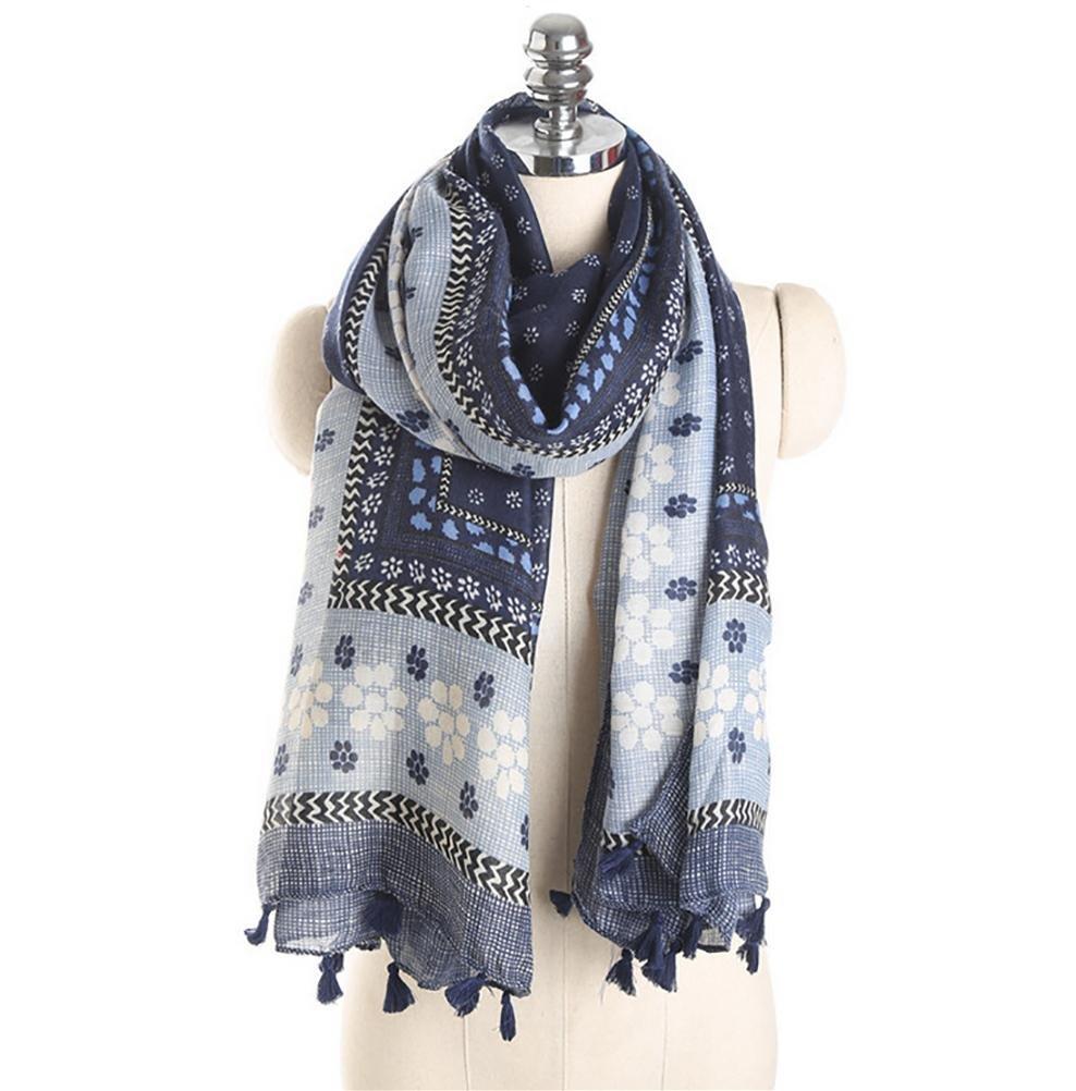 SALY Bufanda de algodón y lino retro borla , 180*90cm