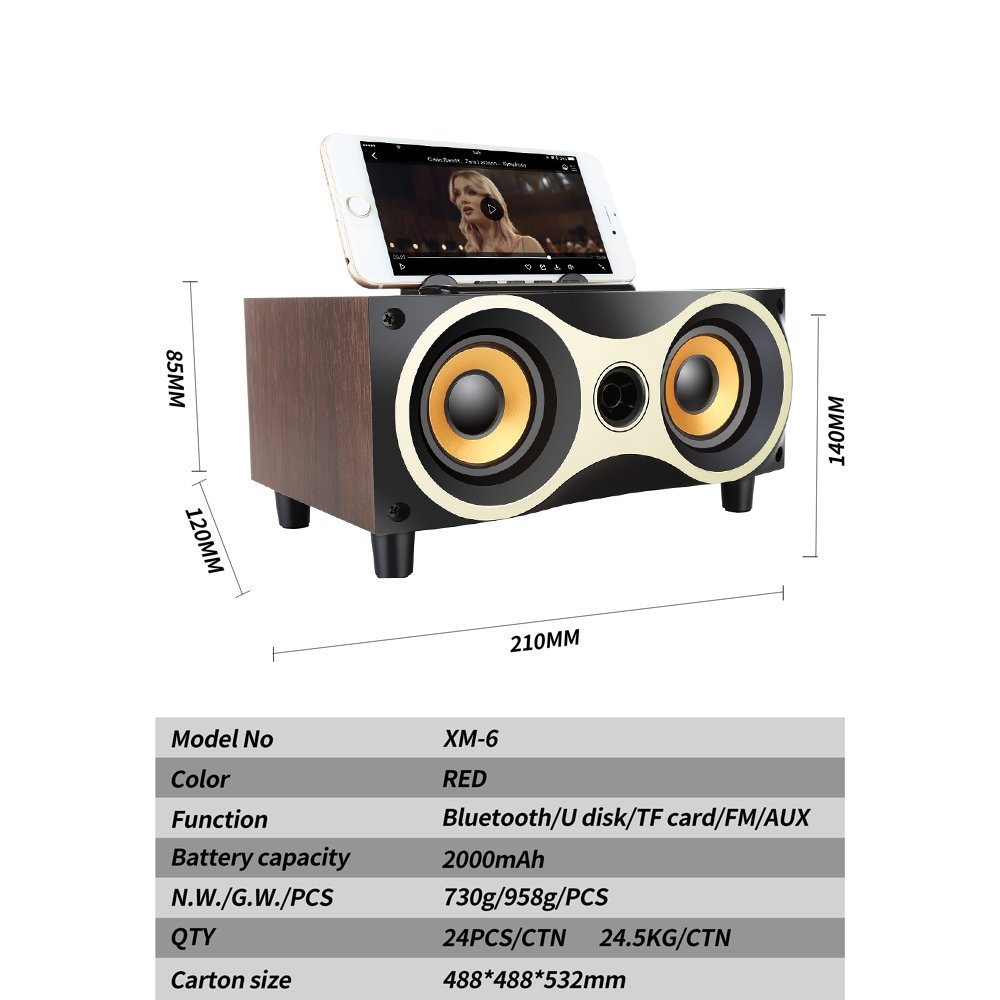 Desktop Portable Wooden Wireless Speaker Subwoofer Stero Bluetooth Speakers Support TF MP3 Player with FM Radio, Phone Holder for iPhone Android by Sysmarts (Image #5)