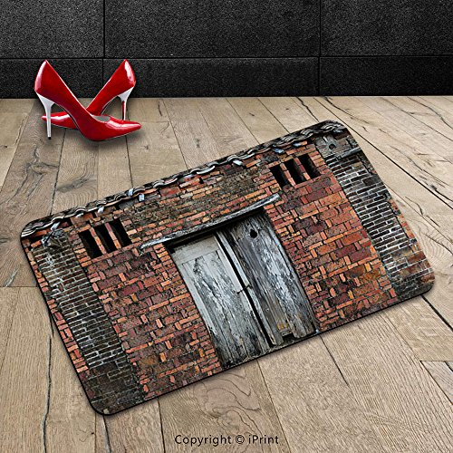Custom Machine-washable Door Mat Antique Decor Collection Severe Corrosion of the Mud Brick Hut Weathered Facades Aged Poverty View Salmon Grey Indoor/Outdoor Doormat Mat Rug (Diy Tiki Hut)