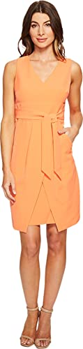 Donna Morgan Women's Crepe Dress W/ Tie Detail At Waist and Overlapping Skirt