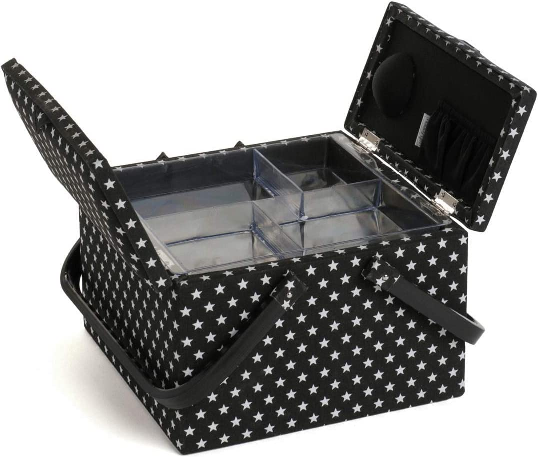 Gorgeous Hobby Gift Black Star Twin Lid Large Sewing Box 25 x 25 x 17cm
