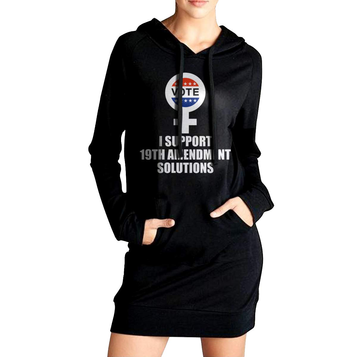 Womens Long Sleeve Hooded I Support 19th Amendment Solutions Loose Casual Pullover Hoodie Dress Tunic Sweatshirt Dress with Pockets