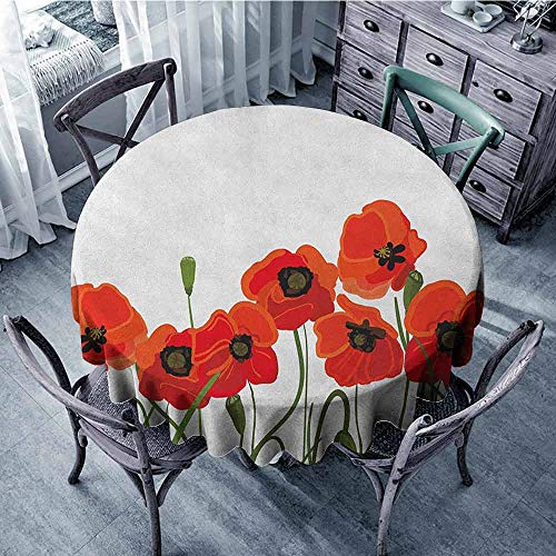 ScottDecor Waterproof Round Tablecloth Fabric Tablecloth Poppy,Efflorescing Meadow in The Backwoods Vibrant Blossoms Buds Bouquet, Vermilion Olive Green Black Diameter 50