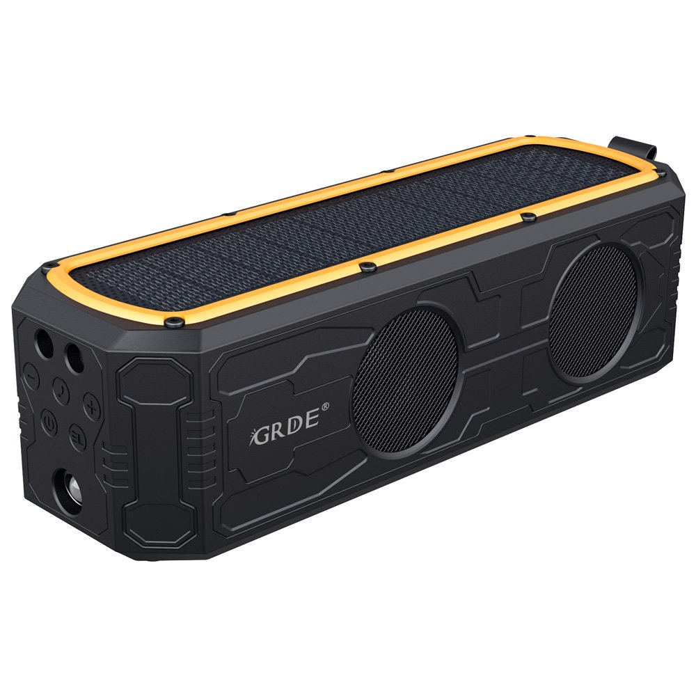 Solar Bluetooth Speaker, GRDE Portable Wireless Bluetooth Speaker with 4400mAh Power Bank, 55 Hour Playtime, Dual Driver Speakers with Mic, Superior Stereo Sound with Bass, IPX5 Water Resistance by GRDE