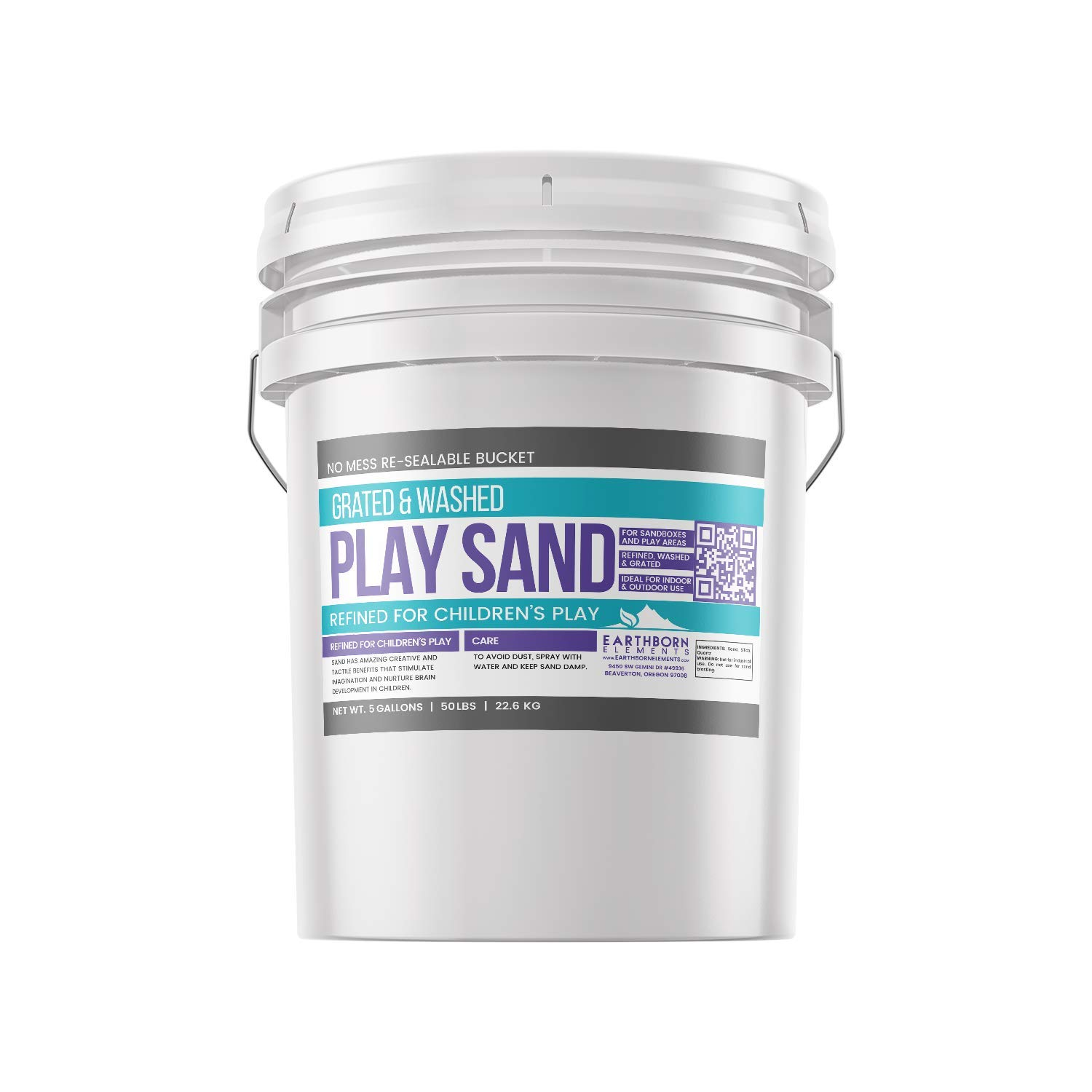 Play Sand, 5 Gallon Bucket by Earthborn Elements, Highest Quality, Building & Molding, Promotes Creativity, Sandbox & Play Areas, Indoor/Outdoor, Resealable Bucket (5 gallons) by Earthborn Elements