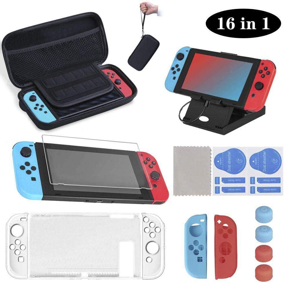 16 en 1 Kit de Accesorios para Nintendo Switch, Funda para Nintendo Switch, Funda Protectora de Silicona | Funda de Transparente | Protector de Pantalla | Tapas para Joystick | Soporte Ajustable