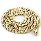 14K Gold Plated Iced Out 1 Row Tennis Necklace 18,20,22,24,30,36 inches