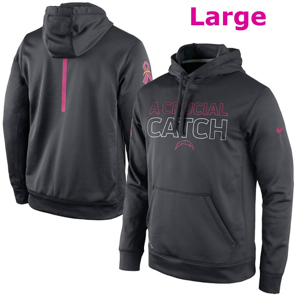 db6a80247 Amazon.com   Nike San Diego Chargers Adult Large A Crutial Catch Hoodie  Therma-Fit Cancer Awareness Sweatshirt - Charcoal   Pink   Sports   Outdoors
