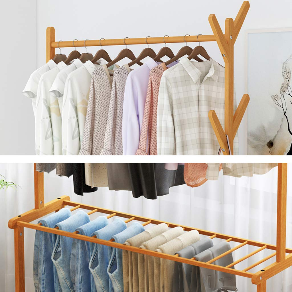 Amazon.com: Xjyj Bamboo Garment Rack with Wheels and 4 Side ...