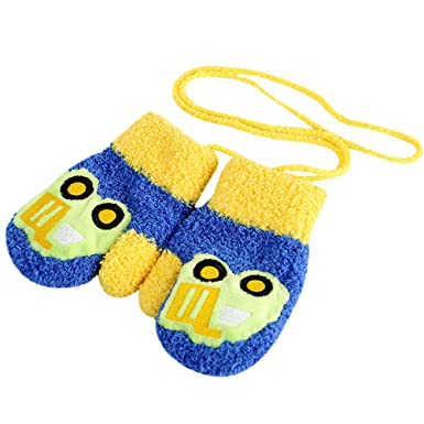 Girls Gloves,Kingko/® Kids Boys Cute Thicken Cartoon Flower Hot Winter Warm With Rope Gloves Toddler Baby Gifts