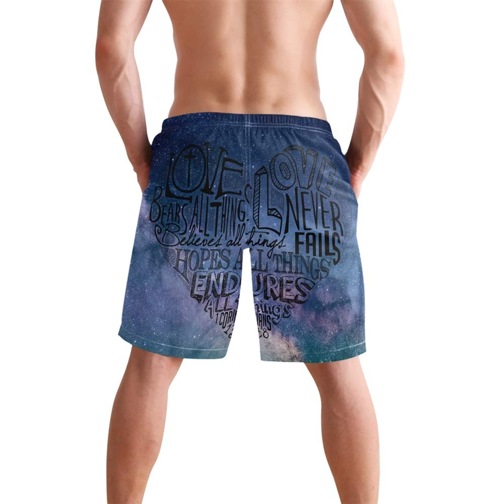 Mens Wide Starry Sky Swimming Trunk Surf Shorts Beach Swimsuits