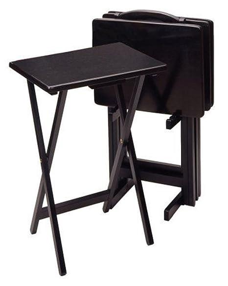 Amazon Com New Expanding Tray Table 5 Piece Tv Table Set