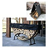 QBC Bundled Woodhaven Firewood Rack - 96-CRES-WRWC - Large Crescent Firewood Rack - Black - (52in x 96in x 14in) with Standard Cover and Woodhaven Log Carrier - Plus Free QBC Firewood Rack eGuide