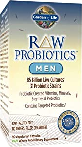 Garden of Life - RAW Probiotics Men - Acidophilus and Bifidobacteria Probiotic-Created Vitamins, Minerals, Enzymes and Prebiotics - Gluten and Soy-Free, Non-GMO - 90 Vegetarian Capsules (Shipped Cold)