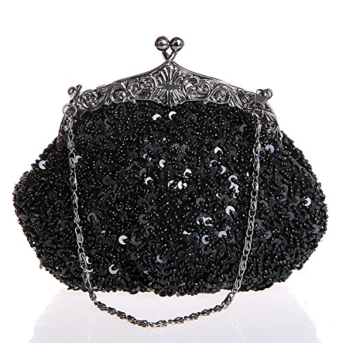 la y niñas bolso la Flada mano boda fiesta mujeres Marina noche cuentas a embragues de Negro azul rhinestone hecho con de lentejuelas xZCCwqX