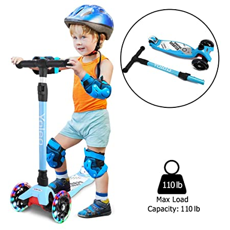 YOLEO Kick Scooter for Kids Lean 2 Turn 3 Wheels Kick Scooter Adjustable Height with PU Flashing Wheels for Kids Toddlers Girls Boys Children