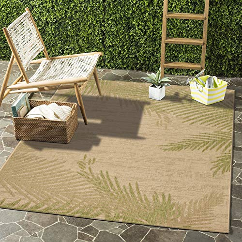 LR Home CAPTI81024BEP7995 Captiva Verdant Palms Indoor/Outdoor Area Rug, 7'9