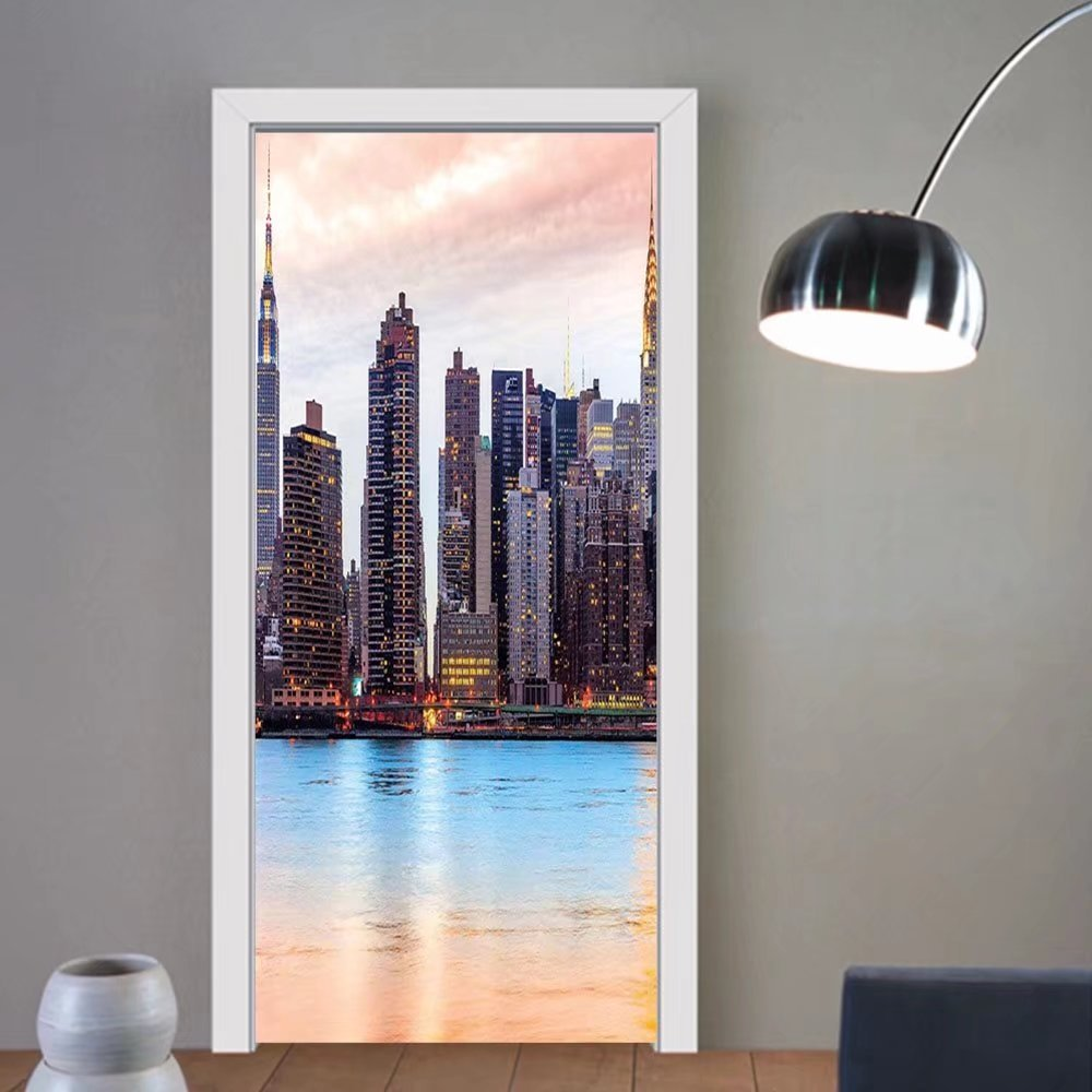 Gzhihine custom made 3d door stickers New York Manhattan Skyline Midtown View from the Lake USA American City Artsy Picture Peach Blue Mauve For Room Decor 30x79