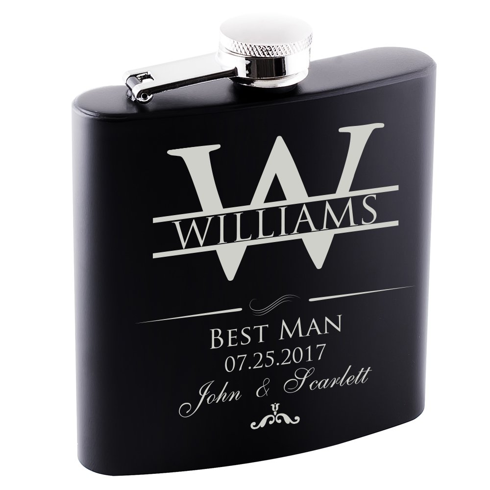 P Lab Only 1 - Groomsmen Gift - Groomsman Gifts For Wedding, Wedding Favor Customized Flask w Optional Gift Box - Engraved 6oz Stainless Steel Hip Flask Custom Personalized Flask Gift, Black #2