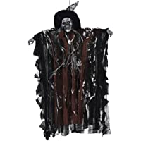 BESTOYARD Halloween Scary Decorations Hanging Skull Sound Activated Skeleton Ghost Halloween Party Supplies Haunted House Props (Coffee Clothes)