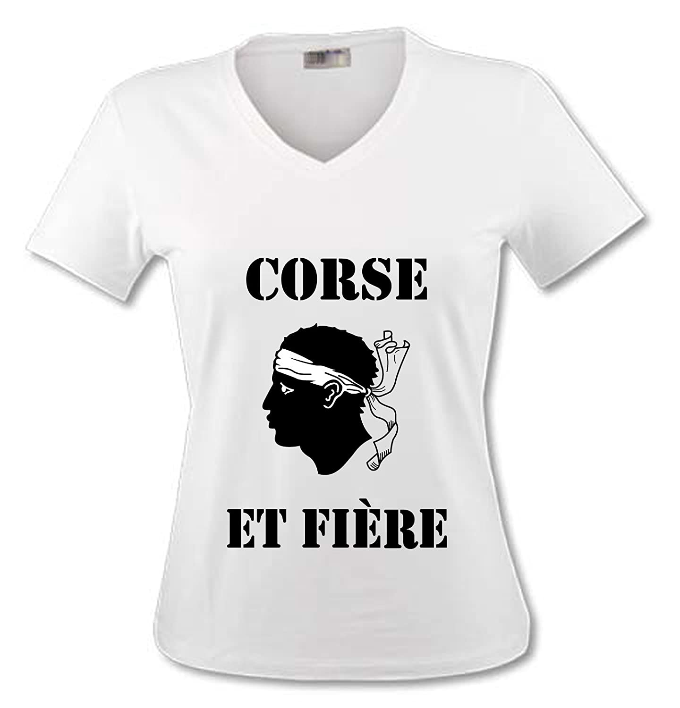 T-Shirt Col V Adulte YONACREA Corse et Fi/ère Femme