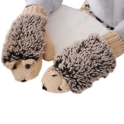 YDZN Women Winter Thicken Warm Cute Hedgehog Gloves Knit Crochet Mittens : Sports & Outdoors