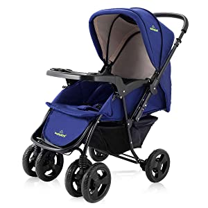 HOMGX Two-Way Baby Stroller with Oriented Front Wheel and Lockable Rear Wheel, 2 in 1 Compact Folding Stroller Includes Adjustable Canopy, Back Seat, Foot Cover, Large Storage Basket (deep Blue)