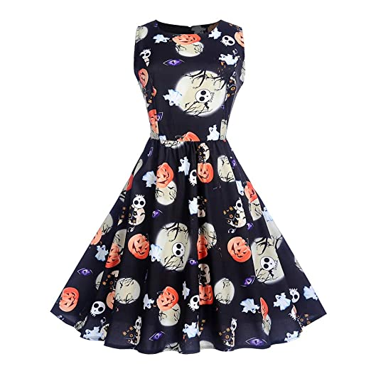 POTO Halloween Dresses for Women,Ladies Sleeveless Vintage Printing Evening Party Dress Prom Costume Swing