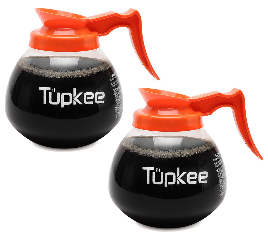 Commercial Coffee Pot Replacement Glass Coffee Pots Decanter Carafe -64 oz. 12-Cup, Set of 2 Orange Handle - Decaf by Tupkee